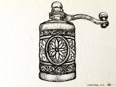 Pepper grinder sketch illustration