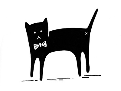 Cat with a bowtie cat bowtie tie drawing illustration black bow tie silly cat