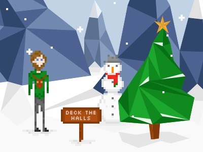 Christmas Scene low poly character snow pixel snowman pixel art christmas scene