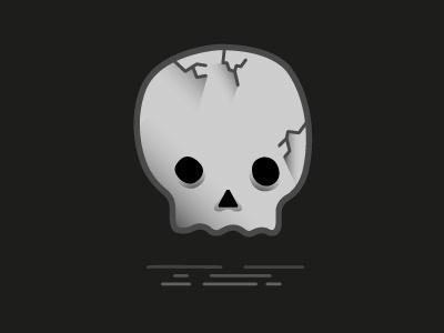 Little Skull skull vector illustration black white gradient shadow character crack cracked