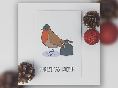 Christmas Robbin' bird robber festive illustration animal robin greetings card christmas