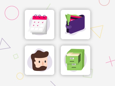 Illustrated Icons filing cabinet icon pattern flat simple face figure money wallet vector illustration calendar