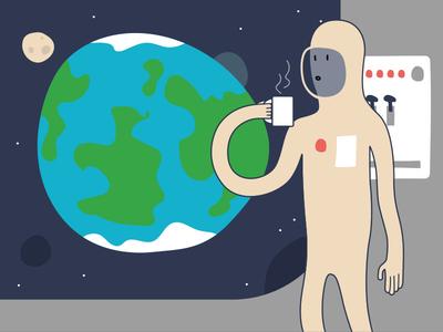 Astronaut drinking tea flat illustration moon planet spaceship tea vector illustration earth space astronaut