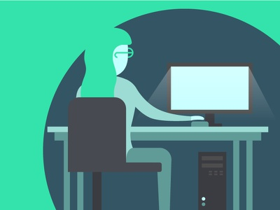 Burning the midnight oil simple workspace night flat glasses pc woman computer vector illustration