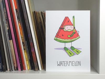 Watermelon snorkel water seeds fruit fun card funny vector scuba illustration watermelon