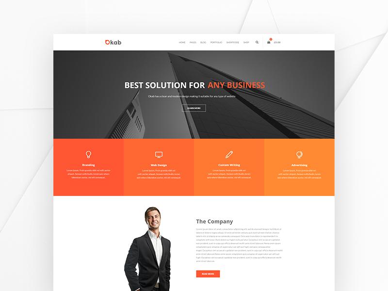Okab Wordpress Theme simple clean landing page creative themeforest multipurpose business ux ui corporate wordpress web design