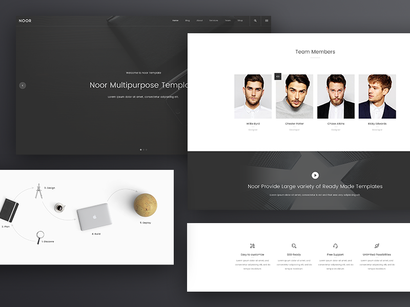 NOOR WordPress Theme: Corporate Template ux ui wp web design noor wordpress of 2017 wp theme clean minimal creative theme wordpress