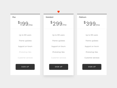 Minimal Pricing Plans creative concept subscription pricing table pricing plan wordpress theme minimal clean ux web design ui
