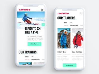 Mobile Website UI for Ski Training Center
