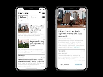News Mobile App User Interface