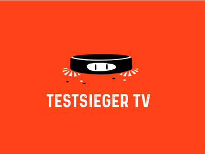 Testsieger Logo Design icon tv sketch characters cleaning cute character character vacuum cleaner logo orange graphics design branding illustration vector