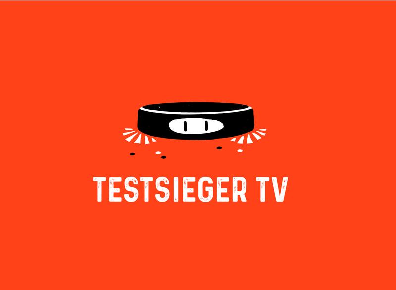 Testsieger Logo Design character vacuum cleaner logo orange graphics design branding illustration vector
