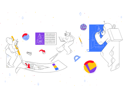 TeamWork minimal spaceship paper painting pattern space purple blue yellow website texture clean drawing simple color sketch illustration vector design graphics