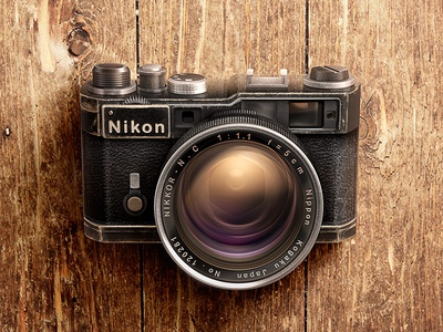 Camera Nikon Rangefinder grunge wood texture leather glass camera illustration lens vintage