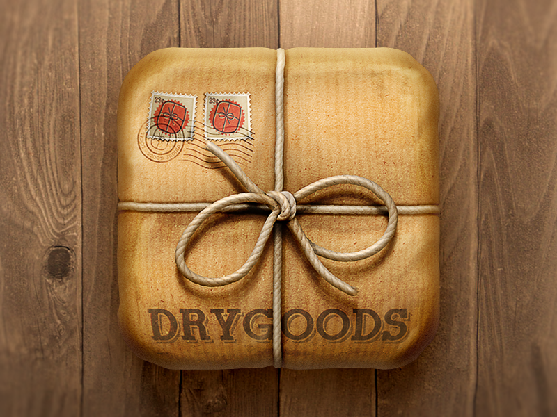 DRYGOODS Icon icon ios illustration rope paper parcel stamps package goods twine