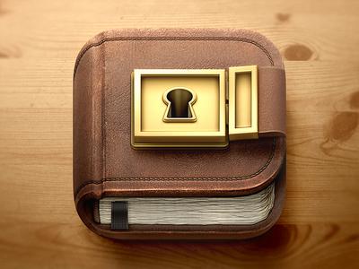 Diary iOS Icon illustration lock metal paper book journal wood leather stitches diary icon ios