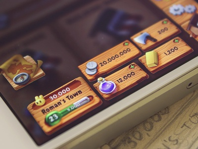 Game GUI ios wood ui game gold map buttons gui medieval potion compass
