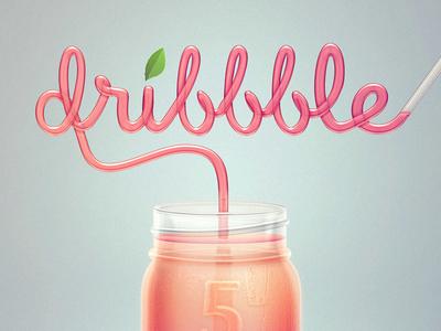 Happy 5th Anniversary Dribbble straw drink mason jar juice fresh dribbble anniversary
