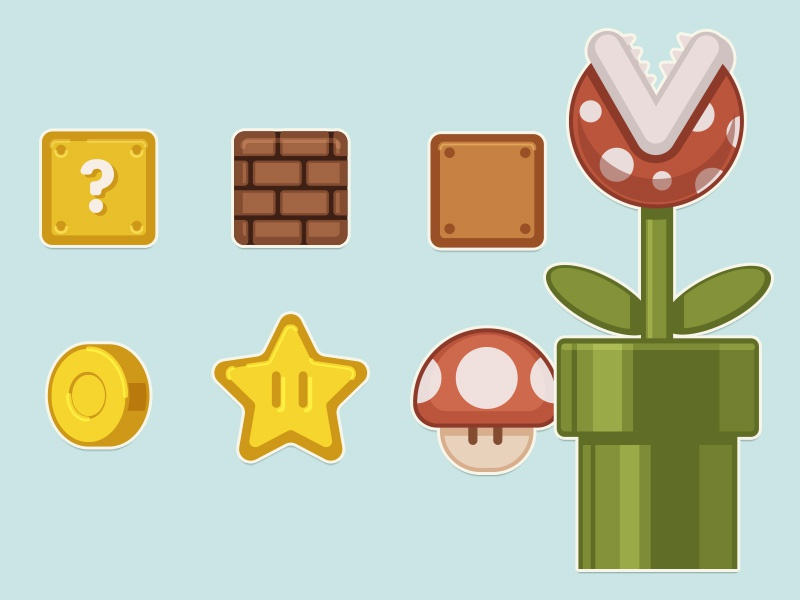 Super Mario Stickers Wall super mario
