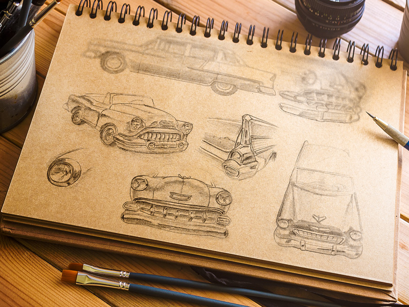 Chevy Bel Air Sketch Study retro vintage car chevrolet photoshop psd free freebie sketch mockup