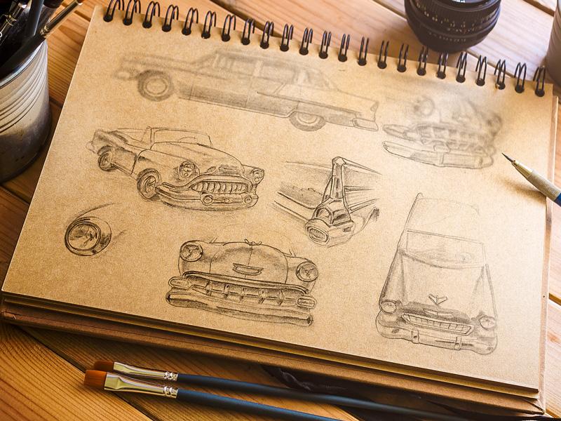 Chevy Bel Air Sketch Study retro vintage car chevrolet photoshop psd free freebie sketch mockup
