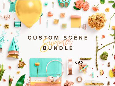 Summer Bundle photoshop smart objects editable content editable color isolated objects graphics sale deal mockup creator scene creator mockup custom scene