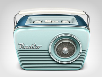 Radio Icon icon radio retro chrome metal vintage illustration music