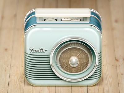 Radio iOS Icon icon ios iphone ipad radio chrome wood retro vintage illustration music