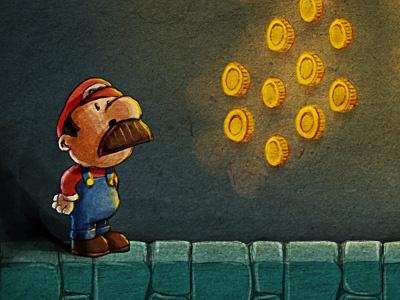 Gift for Joel mario coin illustration underground tube children