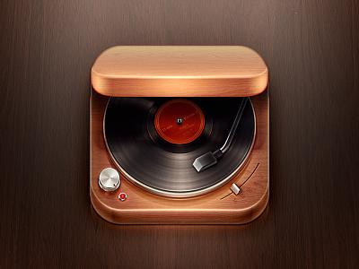 Record Player iOS Icon record player vinyl icon ios ipad iphone wood music