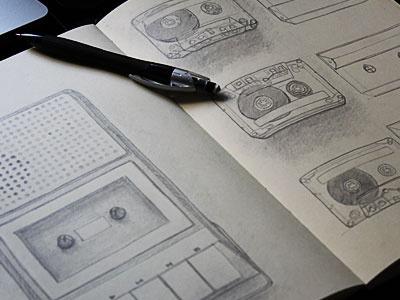 Cassette Player Project Sketch sketch cassette tape deck player retro