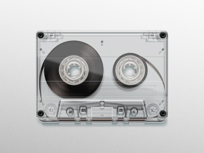 Cassette cassette plastic transparent music tape reel retro illustration