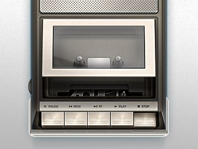 Cassette Player music illustration ui cassette player retro metal chrome reflection button play stop