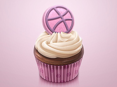Thank You Dribbble birthday thank you dribbble gift chocolate cream cup cake cupcake illustration