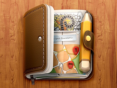 Journal iOS Icon journal travel ios icon iphone pencil leather paper wood map barcelona stitches
