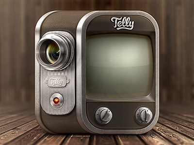 Telly Icon ios android iphone camera television lens leather screen display knob record vintage retro icon