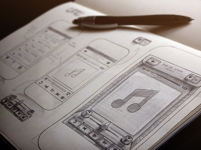 Radio App Sketch sketch app radio iphone music wireframe pencil buttons interface ui tutorial