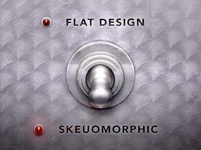 Flat Design flat design skeuomorphic skeuomorphism switch metal reflection steel lights led ui gui