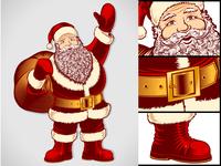 Santa Claus Cartoon Character Vintage Ink Drawing Pop Art Color