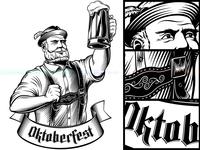 Oktoberfest Man German Beer Glass Lager Foam Engraving Black