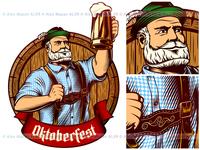 Vector Oktoberfest Man Bavarian Beer Glass Barrel Engraving