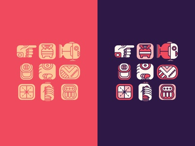 Mayan theme iconography system color palette adobe illustrator branding illustration vectors design iconography icon set icon copan maya mayan