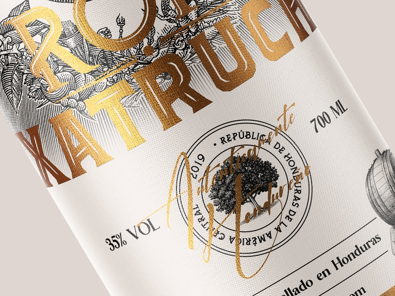 Xatruch Rum Packaging identity typography design branding illustration graphicdesign gold xatruch ron honduras packagedesign packaging design bottle rum packaging