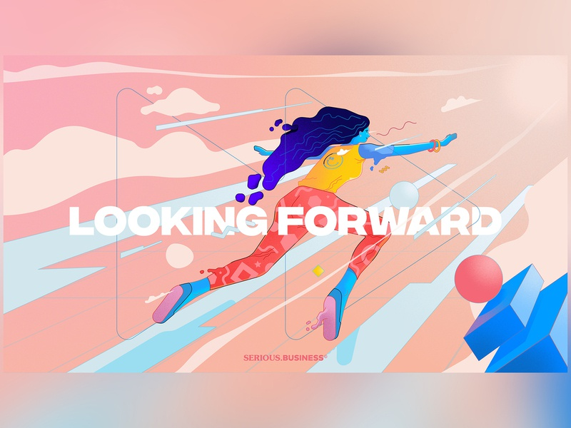 Looking Forward (Editorial Illustration) editorial art lineart moving forward flying woman photoshop digital art vector typography branding character design graphic design illustrator vectors editorial illustration illustration