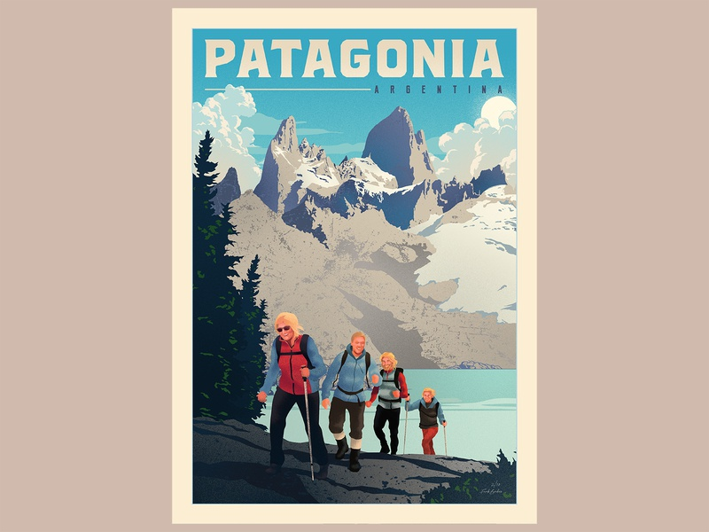 Patagonia, Argentina poster poster art poster hiking argentina editorial design toursim patagonia travel editorial illustration editorial art print illustrator branding vector illustration vectors graphic design