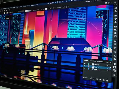 Cityscape WIP adobe illustrator bikes buildings colorful illustration graphic design vectors skylines cityscape