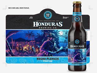 HBCo Beer label, Negro Plumaje brandmarks bottlecap beer craft beer brewing brewery hops glass vectors graphics honduras honduras brewing