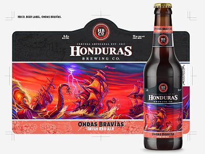 HBCo Beer label, Ondas Bravías brandmarks bottlecap beer craft beer brewing brewery hops glass vectors graphics honduras honduras brewing