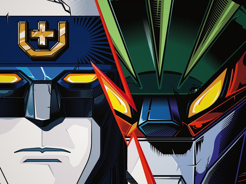 Voltron vs Kotetsu Jeeg robots mecha retro show character design voltron steel jeeg illustration graphic design vectors anime