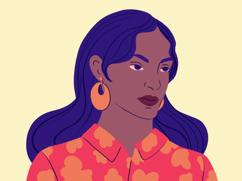Portrait woman illustration portrait adobe fresco vector design illustration